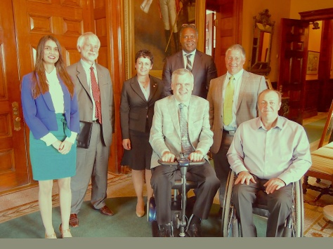 Left to right: Esha Abrol, Director of Marketing, HMI, Lars Henriksson, Honorary Conul, Consulate of Sweden, Valarie Wafer, District Governor, Rotary District 7070, The Honourable David C. Onley, OOnt, Anthony Hylton, Chief of Staff, Office of The Lieutenant, Governor of Ontario, Joe Millage, President, Energize Motivate Train, Briton Amos, President, HMI — with Esha A, Anthony Hylton and Briton Amos at Office of the Lieutenant Governor of Ontario.