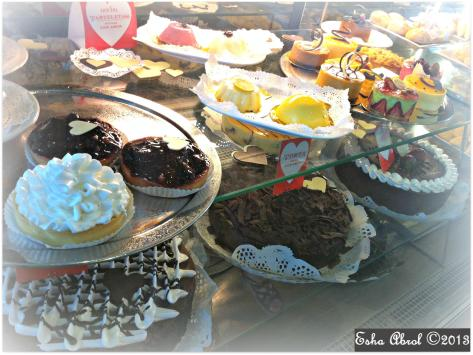 Dessert display in a cafe in Buenos Aires: decisions, decisions!